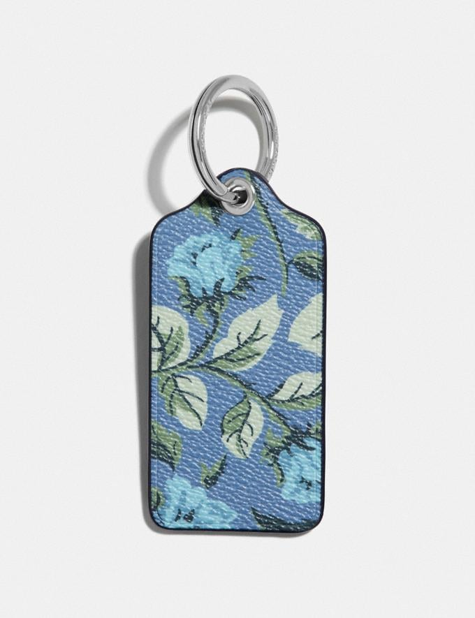 Coach Hangtag With Floral Print Lapis/Silver SALE Women's Sale Accessories