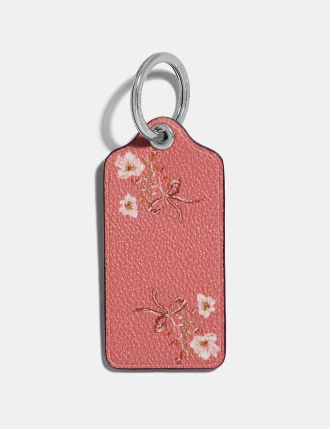 Coach Hangtag With Floral Print Wine/Silver SALE Women's Sale Accessories