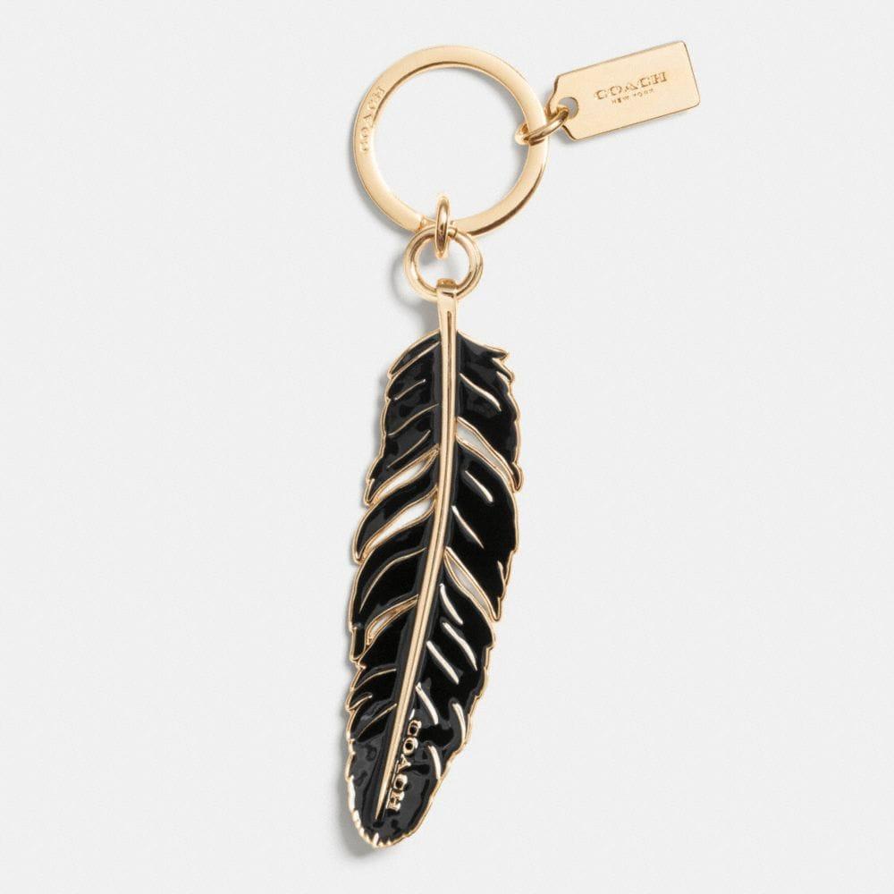 Large Enamel Feather Key Ring