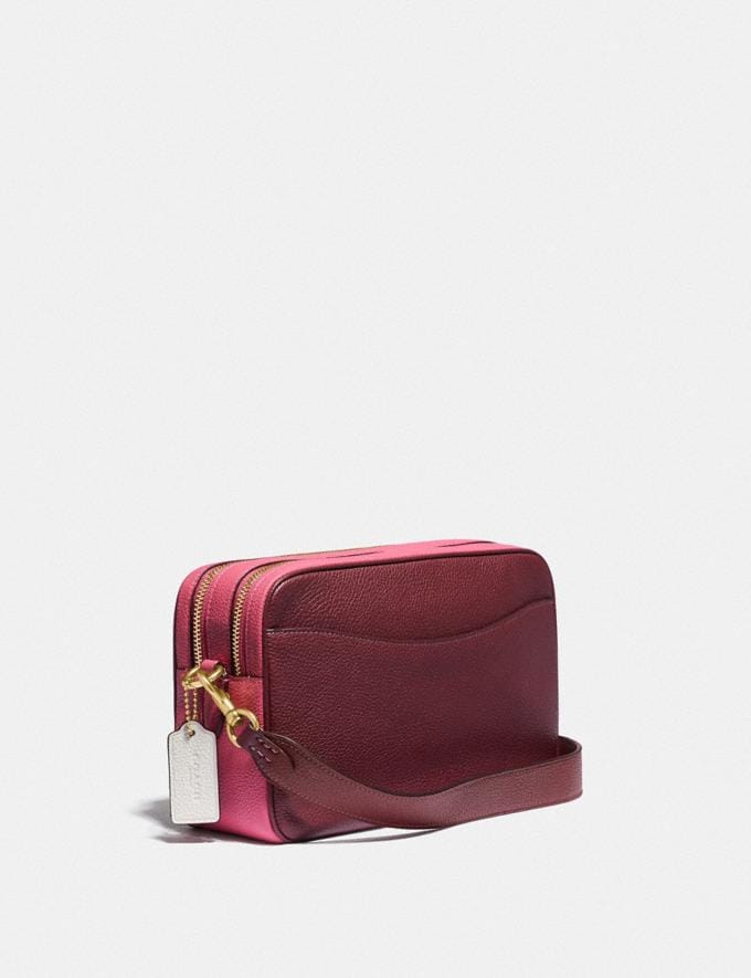 Coach Cassie Camera Bag in Colorblock Brass/Confetti Pink Multi Women Handbags Crossbody Bags Alternate View 1