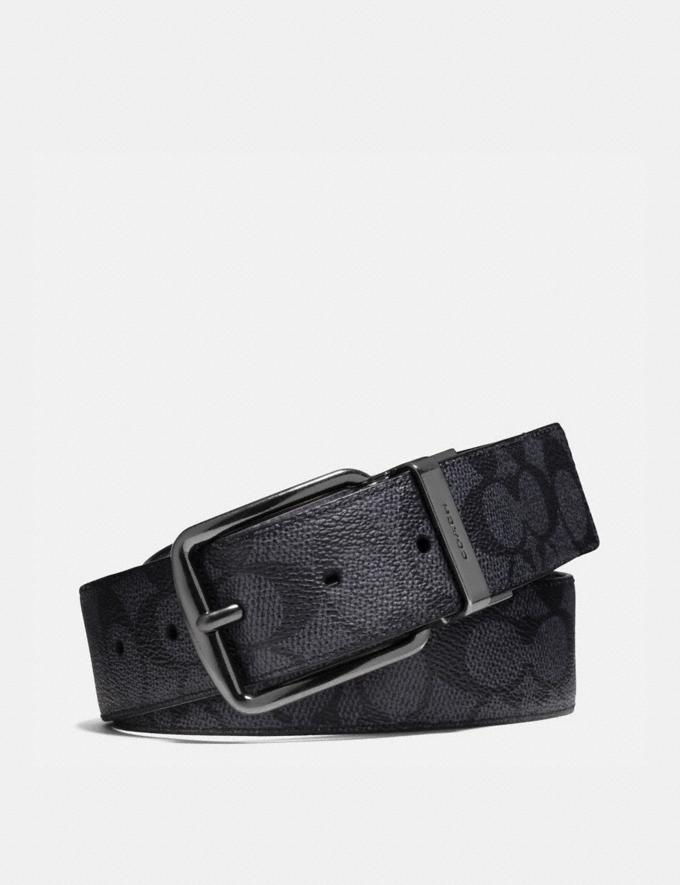 Coach Wide Harness Cut-To-Size Reversible Belt in Signature Canvas Charcoal/Black Men Accessories Belts