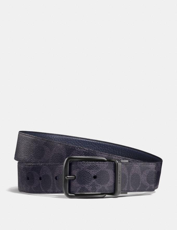 Coach Harness Buckle Cut-To-Size Reversible Belt, 38mm Dark Denim/Midnight Men Accessories
