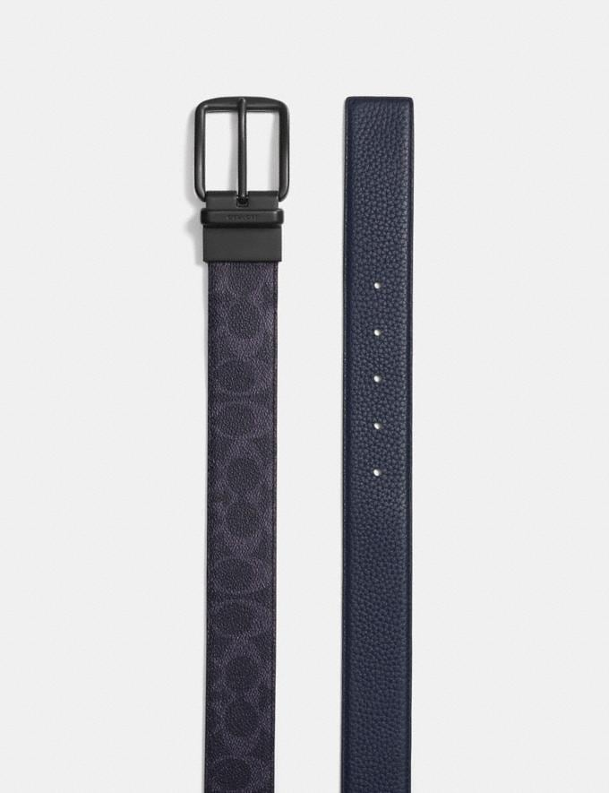 Coach Wide Harness Cut-To-Size Reversible Belt in Signature Canvas Dark Denim Midnight Men Accessories Belts Alternate View 1