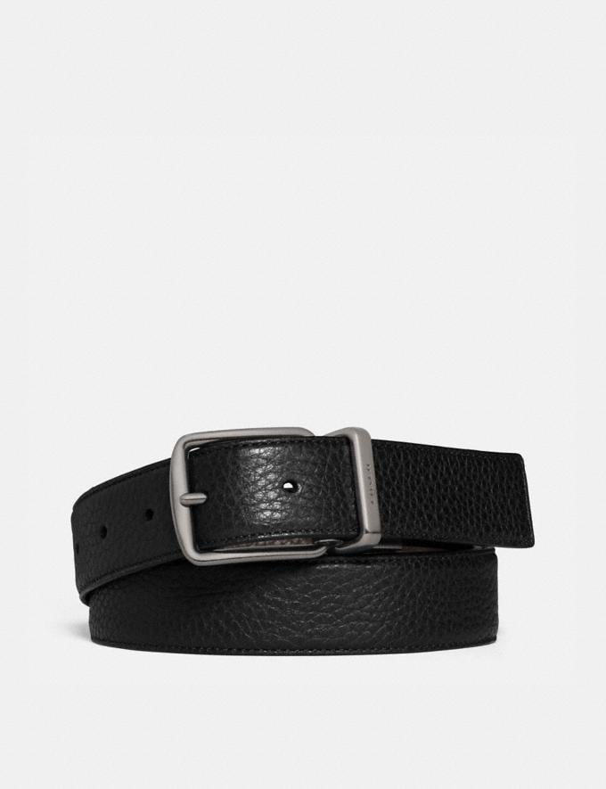 Coach Harness Buckle Cut-To-Size Reversible Belt, 30mm Black/Mahogany Men Accessories Belts