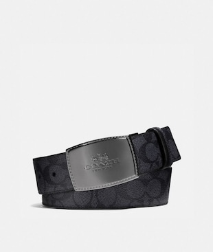 STITCHED PLAQUE BUCKLE CUT-TO-SIZE REVERSIBLE BELT, 38MM