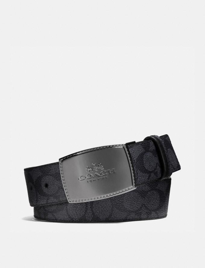 Coach Stitched Plaque Buckle Cut-To-Size Reversible Belt, 38mm Charcoal/Black Men Accessories