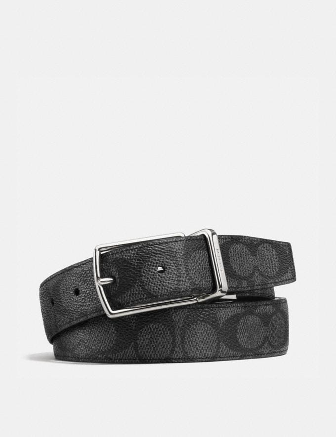 Coach Modern Harness Cut-To-Size Reversible Belt Charcoal/Black SALEDDD Men's Sale Further Reductions Further Reductions