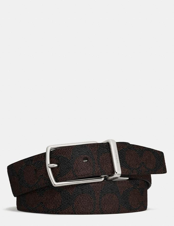 Coach Modern Harness Cut-To-Size Reversible Signature Belt Charcoal/Black Men Accessories Belts