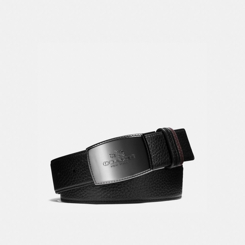 Coach Wide Stitched Plaque Cut-To-Size Reversible Leather Belt