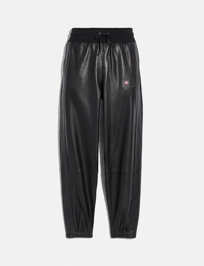 Coach Coach X Champion Leather Joggers Black Women Ready-to-Wear Bottoms