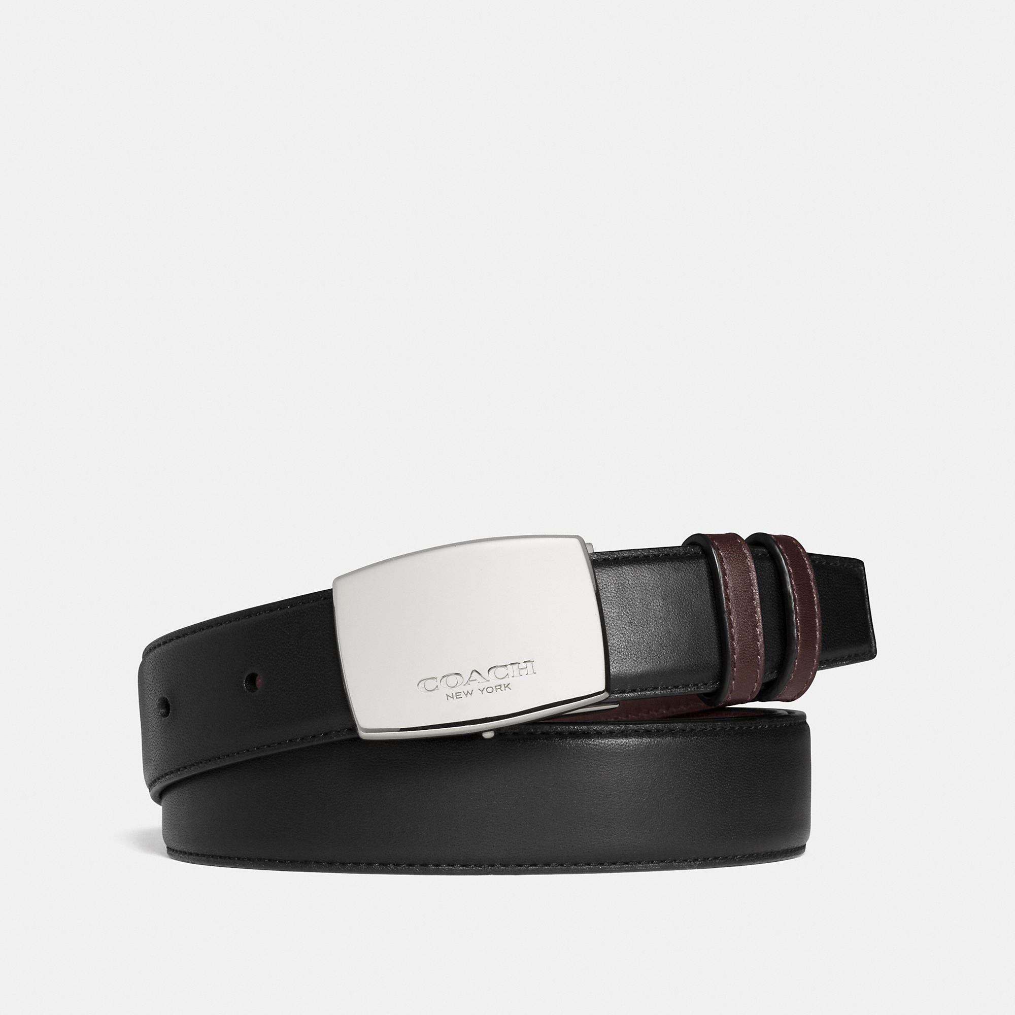 Coach Dress Plaque Cut-To-Size Reversible Smooth Leather Belt