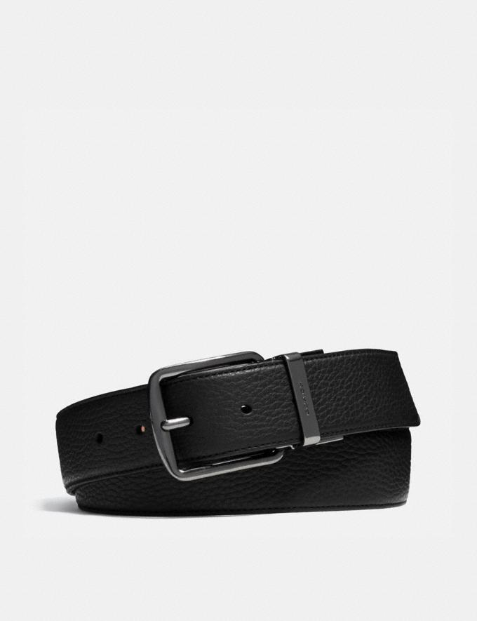 Coach Harness Buckle Cut-To-Size Reversible Belt, 38mm Black/Mahogany