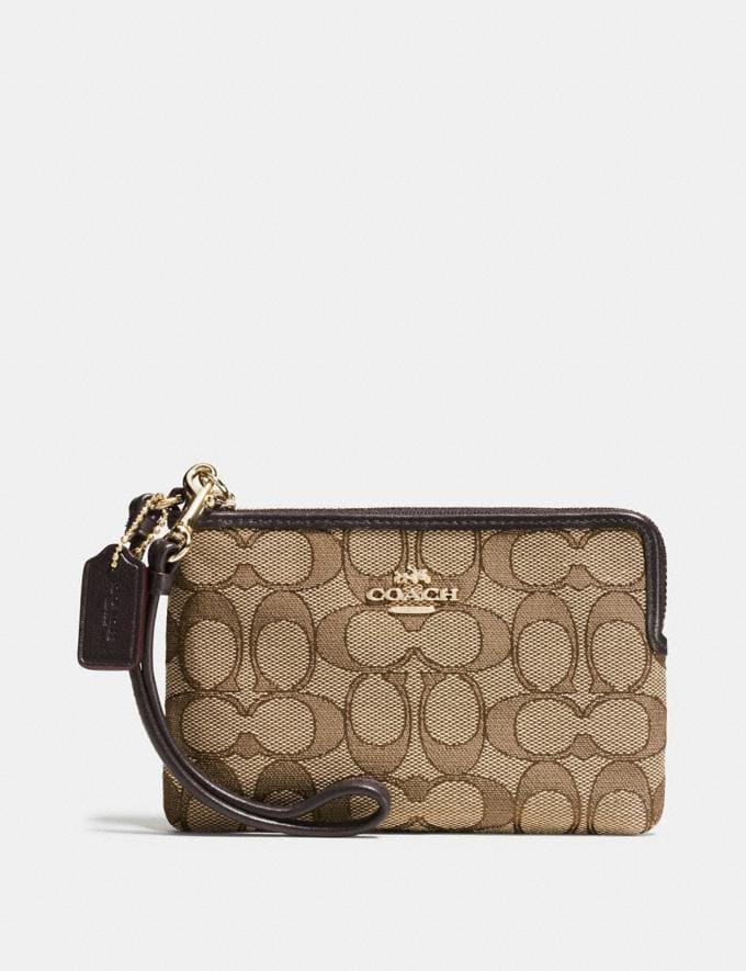 Coach Corner Zip Wristlet Khaki/Brown/Light Gold Women Wallet Guide