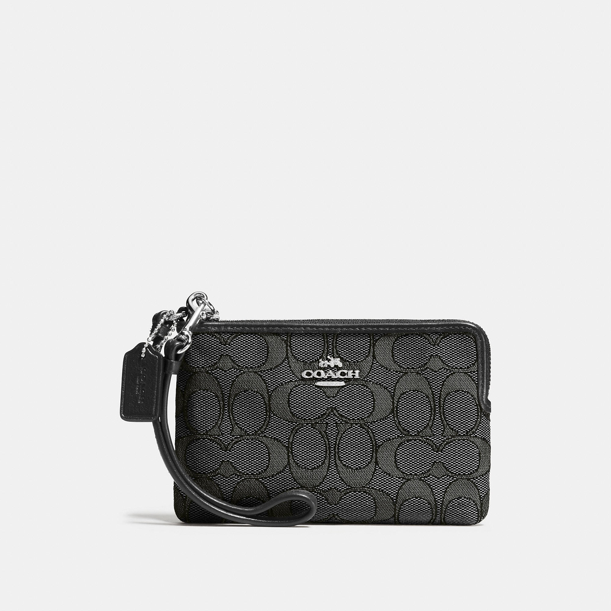 Coach Corner Zip Wristlet In Signature Fabric