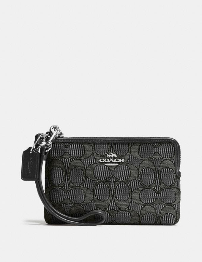 Coach Corner Zip Wristlet Black Smoke/Black/Silver Women Wallet Guide