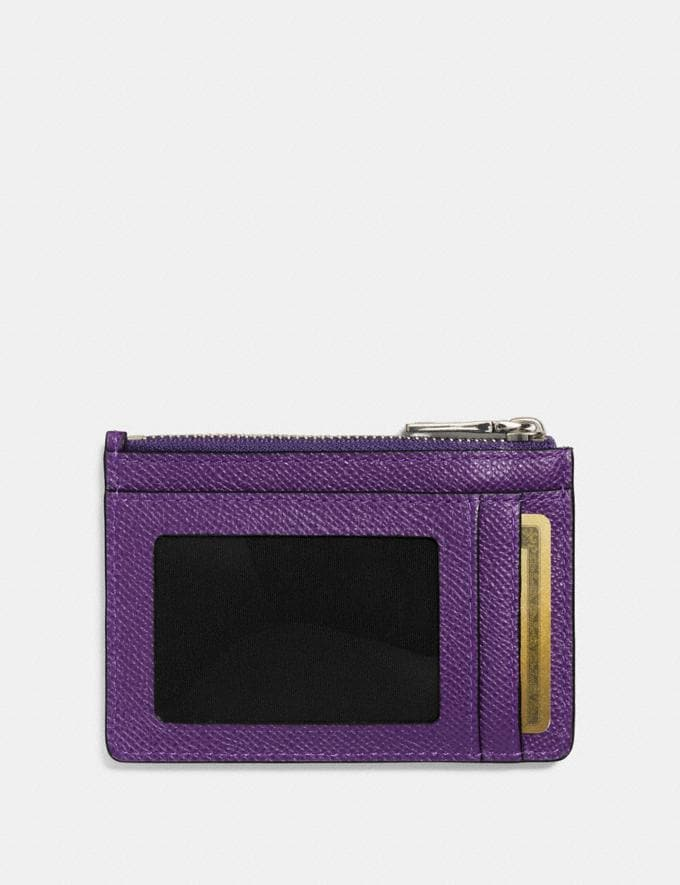 Coach Mini Skinny Id Case Violet/Silver Women Wallets Small Wallets Alternate View 1