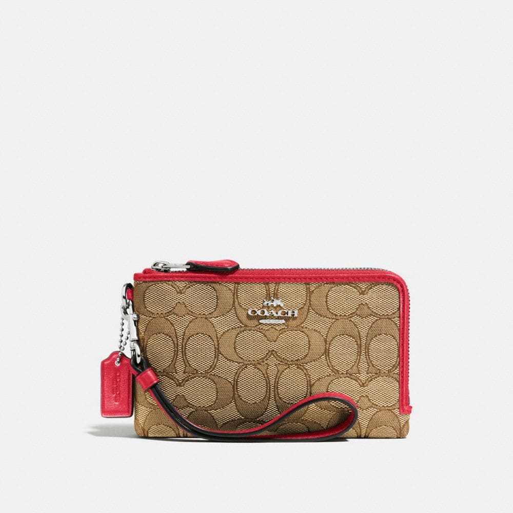 Double Corner Zip Wristlet in Signature Fabric