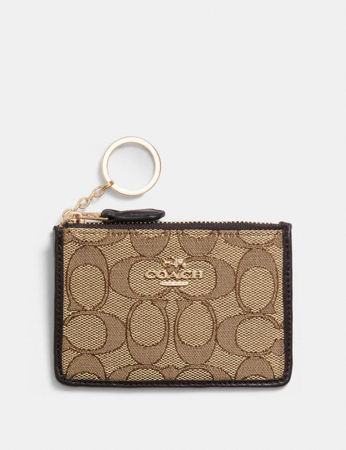 Coach Mini Skinny Id Case in Signature Jacquard Khaki/Brown/Light Gold Women Wallet Guide