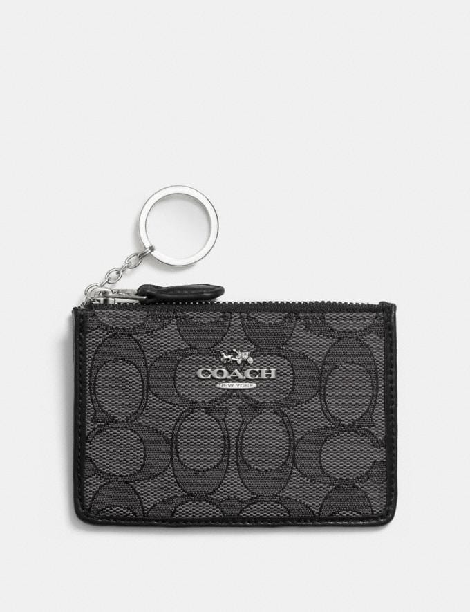 Coach Mini Skinny Id Case in Signature Jacquard Black Smoke/Black/Silver Women Wallet Guide