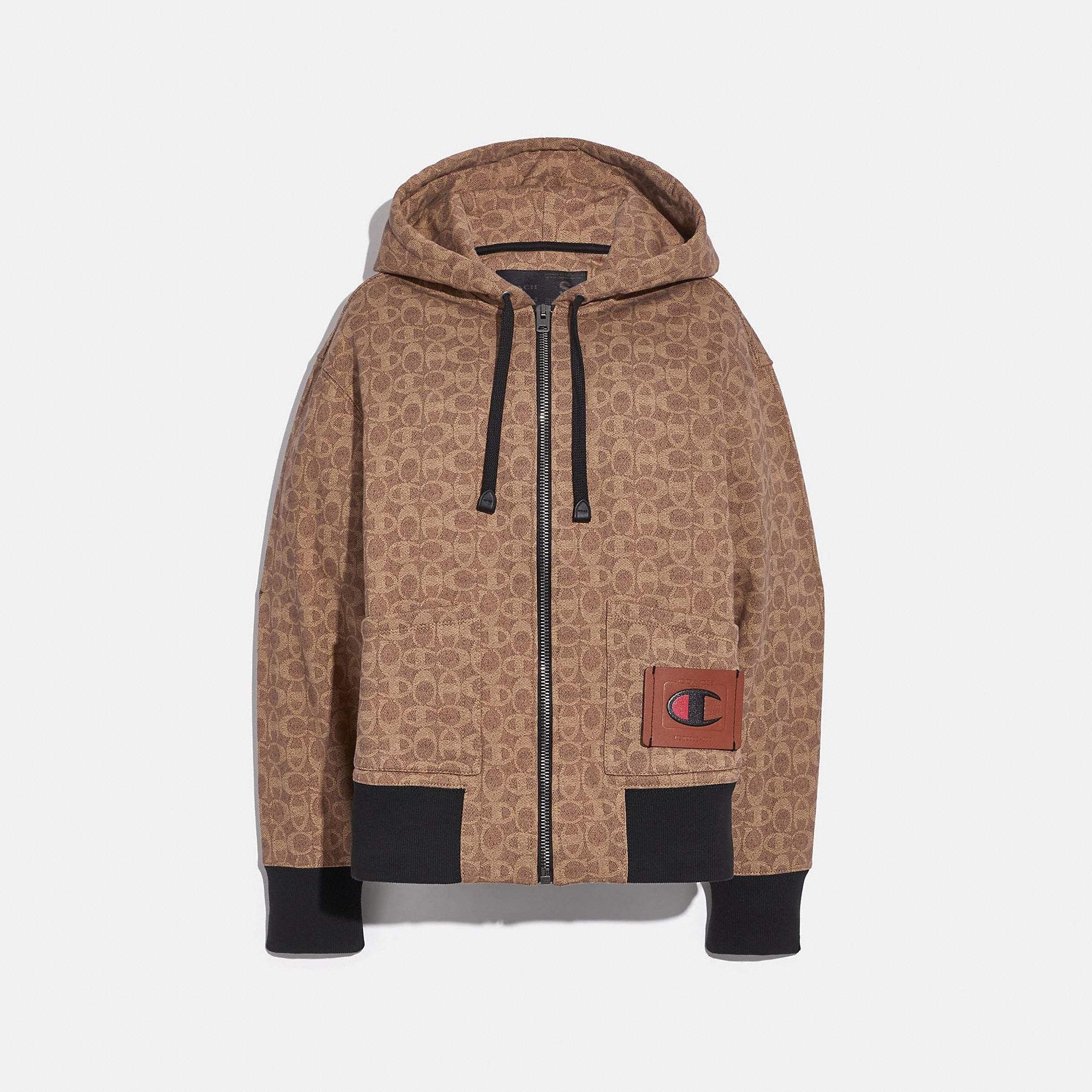 COACH Cottons COACH X CHAMPION SUPER FLEECE SIGNATURE ZIP HOODIE