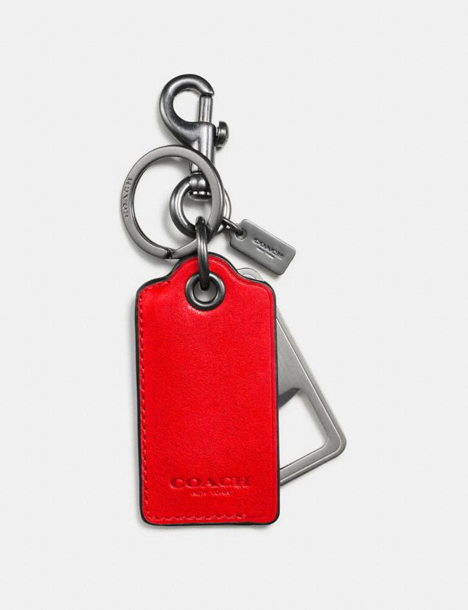 Coach Bottle Opener Key Ring Red Orange New Men's New Arrivals Accessories