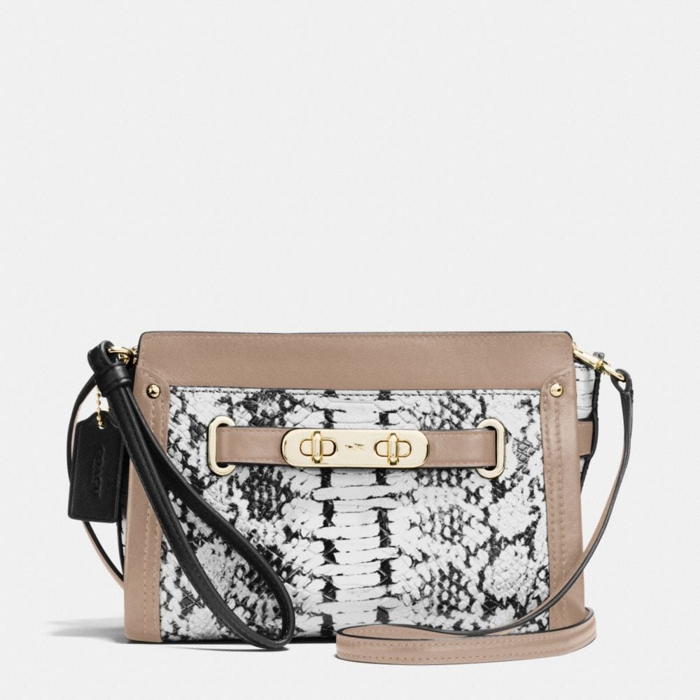 COACH SWAGGER WRISTLET IN COLORBLOCK EXOTIC EMBOSSED LEATHER