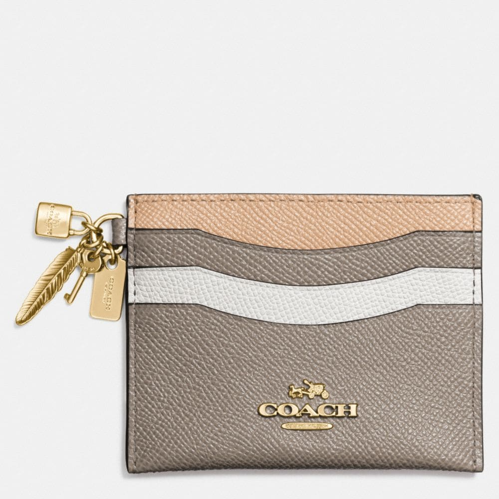 CHARM FLAT CARD CASE IN COLORBLOCK LEATHER