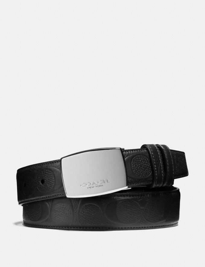 Coach Dress Plaque Cut-To-Size Reversible Belt in Signature Leather Black/Black Men Accessories Belts