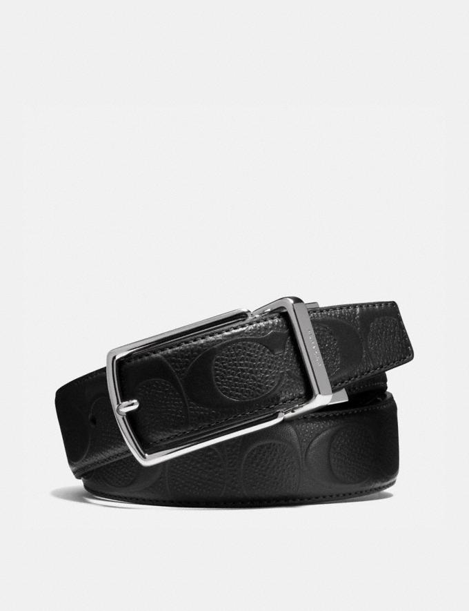 Coach Modern Harness Cut-To-Size Reversible Belt in Signature Leather Black/Black Men Accessories Belts