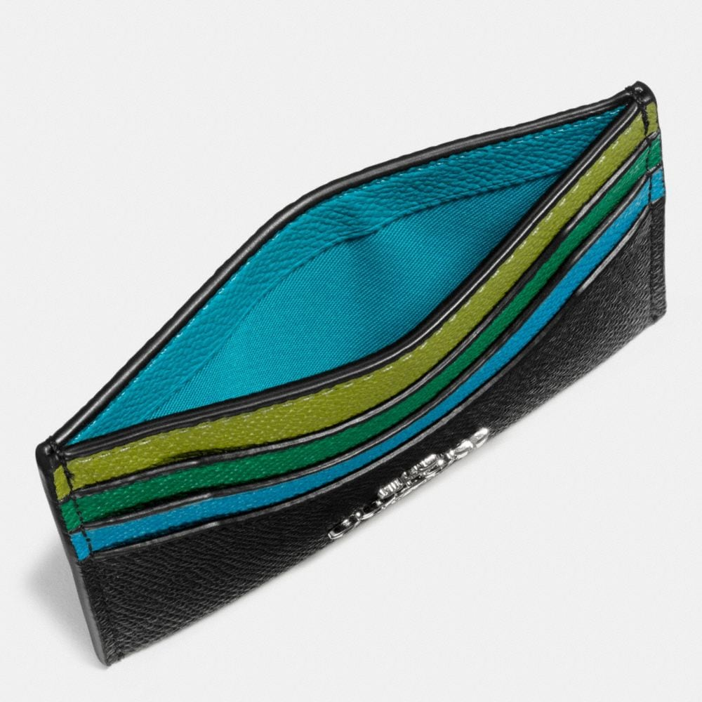 Flat Card Case in Colorblock Leather - Alternate View A1