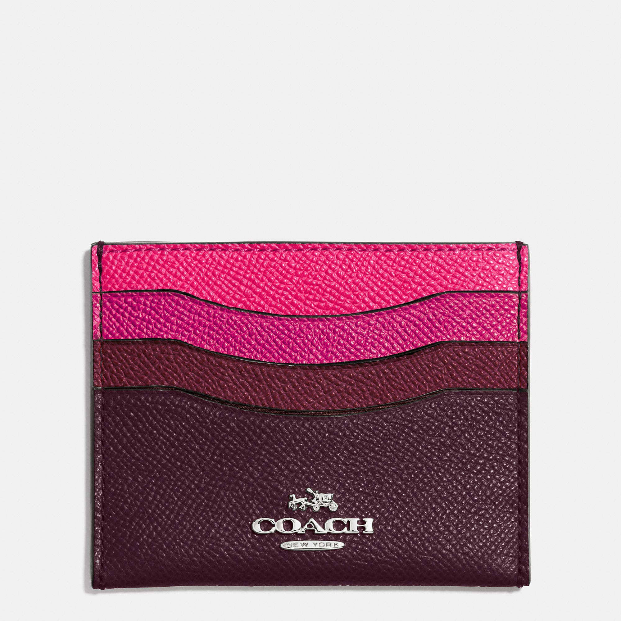 Coach Flat Card Case In Colorblock Leather