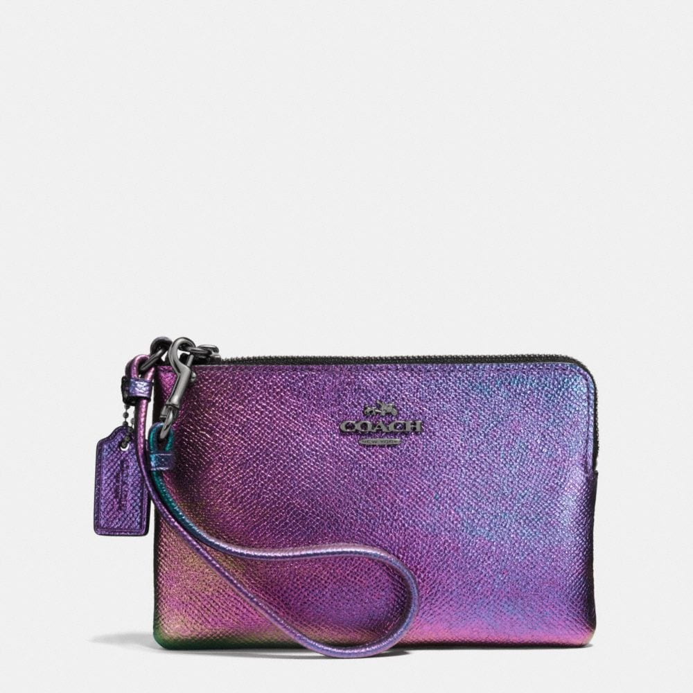 Corner Zip Wristlet in Hologram Leather