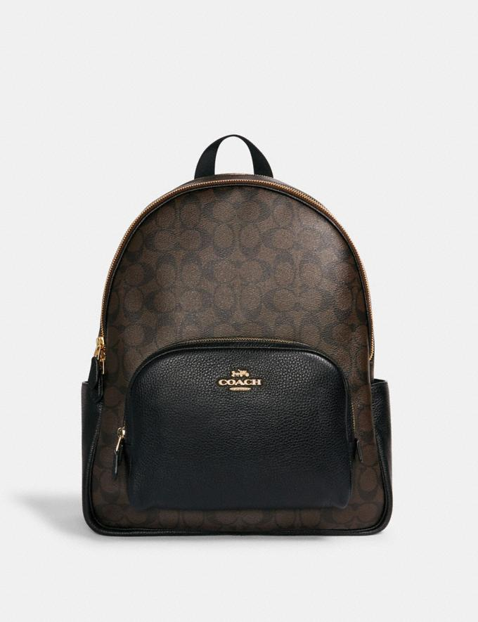 Coach Large Court Backpack in Signature Canvas Im/Brown Black Translations 9.3 Outlet sale and back in stock