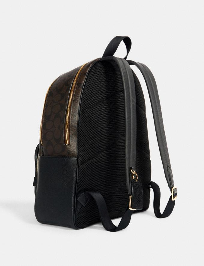 Coach Large Court Backpack in Signature Canvas Im/Brown Black Translations 9.3 Outlet sale and back in stock Alternate View 1