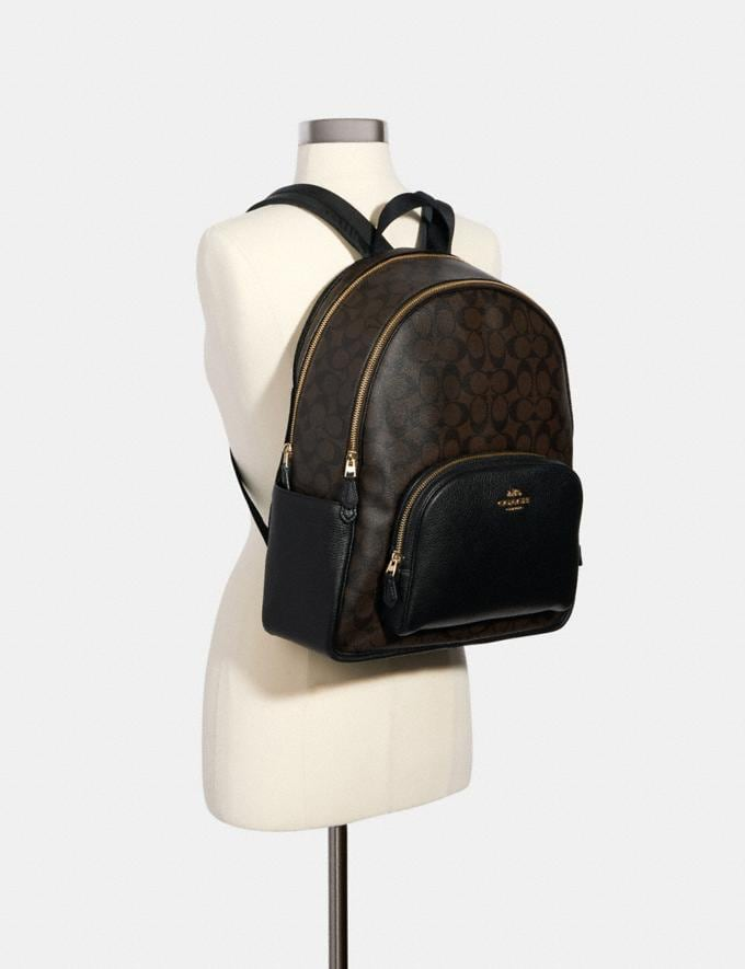 Coach Large Court Backpack in Signature Canvas Im/Brown Black Translations 9.3 Outlet sale and back in stock Alternate View 3