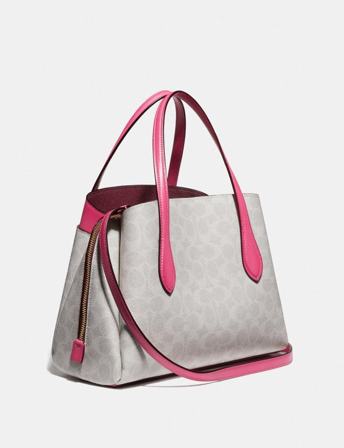 Coach Lora Carryall 30 in Signature Canvas B4/Chalk Confetti Pink Women Bags Satchels Alternate View 1