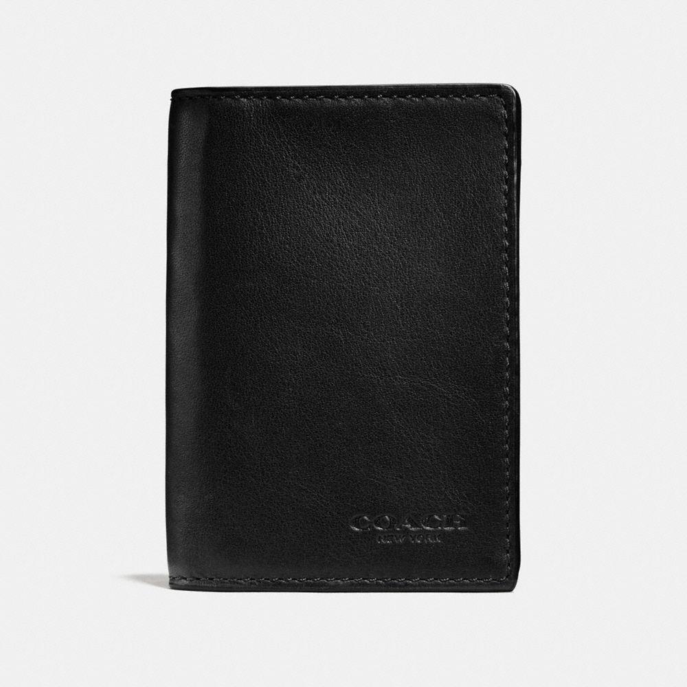 COACH Bifold Card Case In Sport Calf Leather in Black