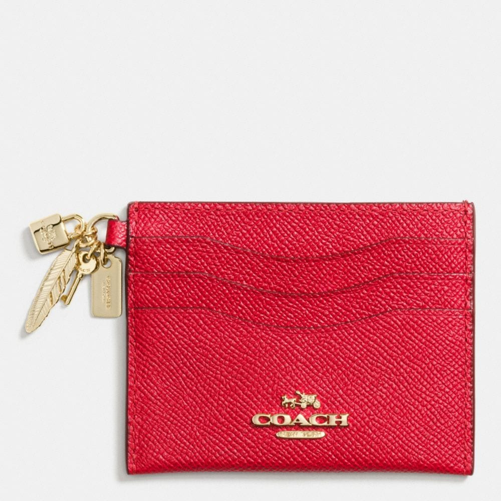 CHARM FLAT CARD CASE IN CROSSGRAIN LEATHER