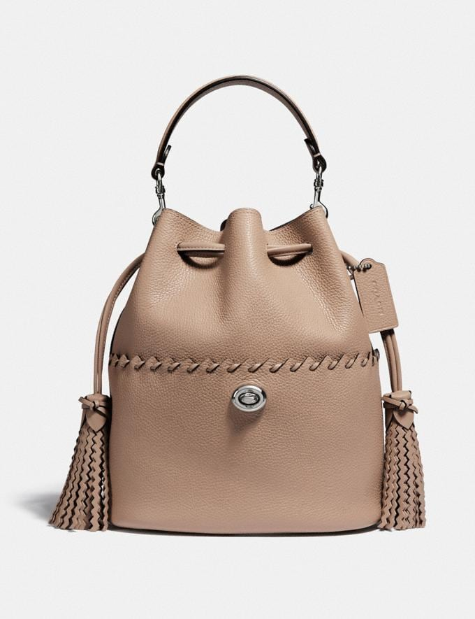 Coach Lora Bucket Bag With Whipstitch Detail Lh/Taupe Women Bags Satchels