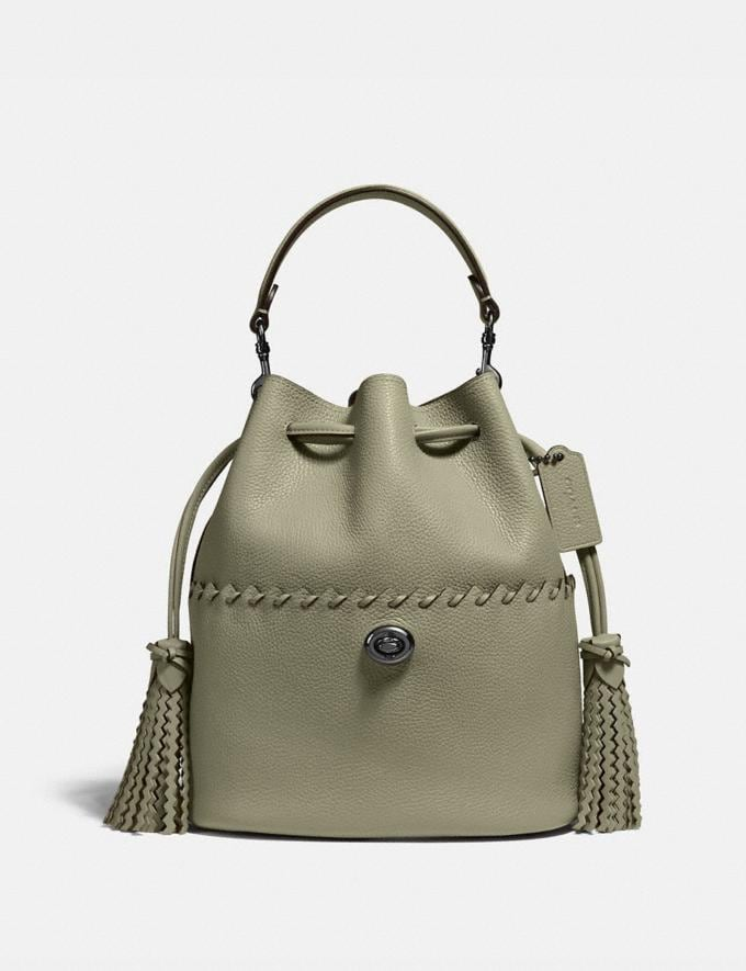 Coach Lora Bucket Bag With Whipstitch Detail V5/Light Fern Women Bags Satchels