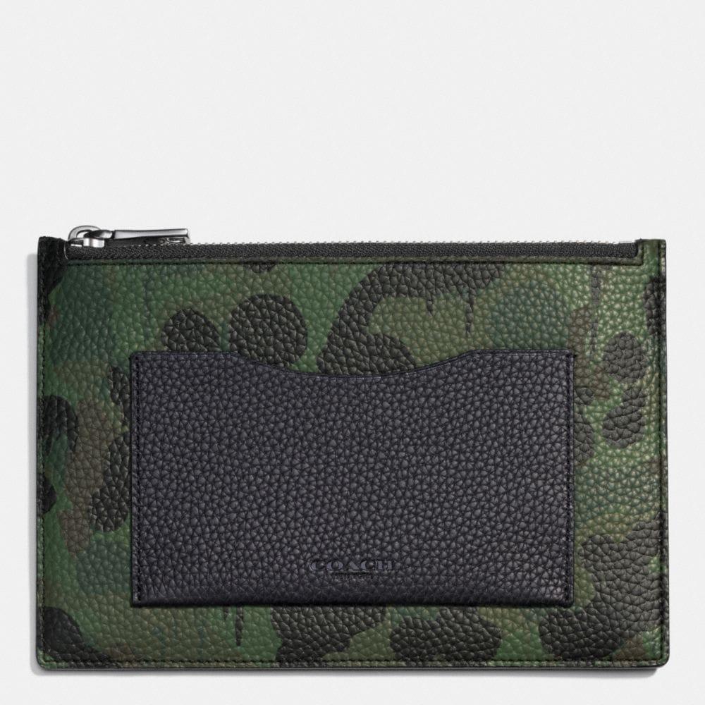 Tech Envelope in Wild Beast Camo Print Pebble Leather