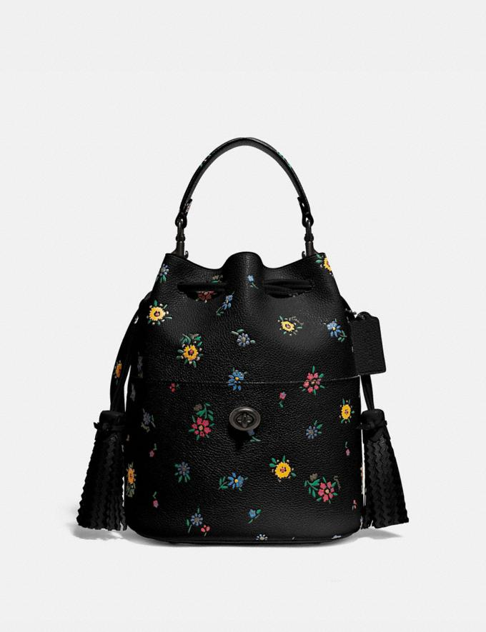 Coach Lora Bucket Bag With Wildflower Print V5/Black New Women's New Arrivals