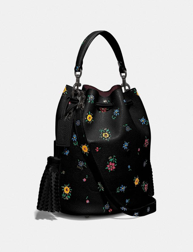 Coach Lora Bucket Bag With Wildflower Print V5/Black Women Bags Satchels Alternate View 1