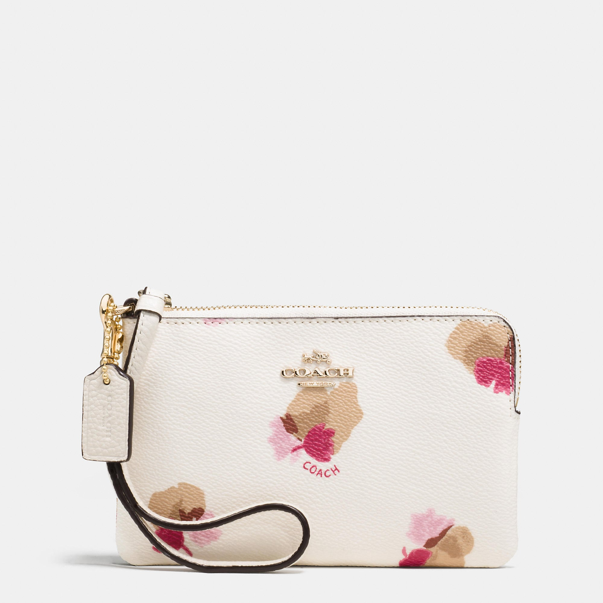 Coach Corner Zip Wristlet In Floral Print Coated Canvas