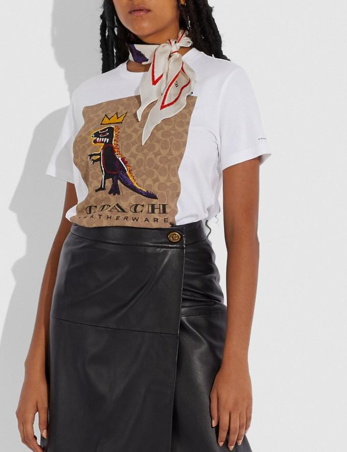 Coach Coach X Jean-Michel Basquiat Silk Diamond Scarf Black/Chalk Women Edits Coach x Basquiat Alternate View 1