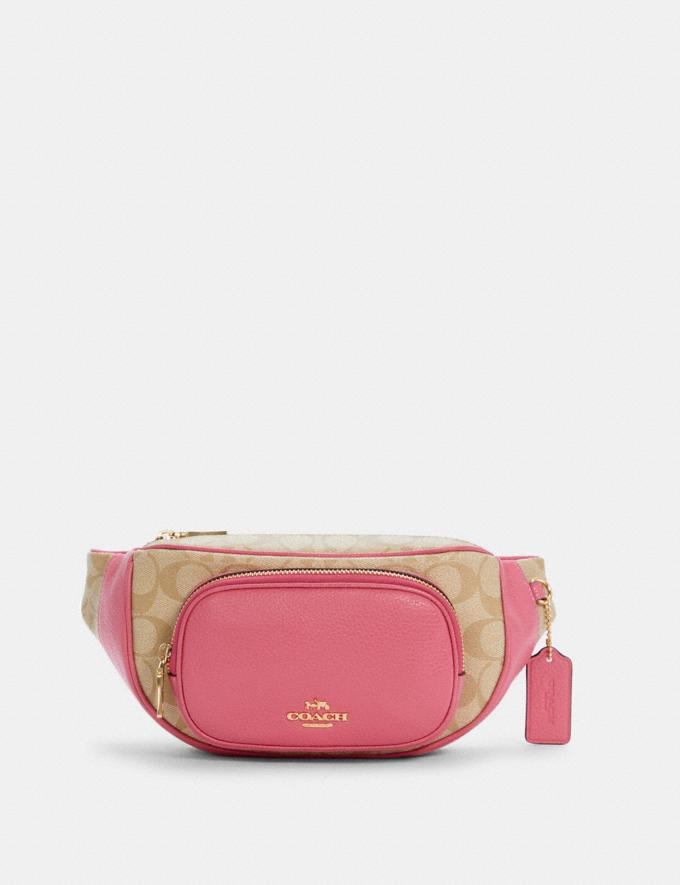 Coach Court Belt Bag in Signature Canvas Im/Light Khaki/Confetti Pink DEFAULT_CATEGORY