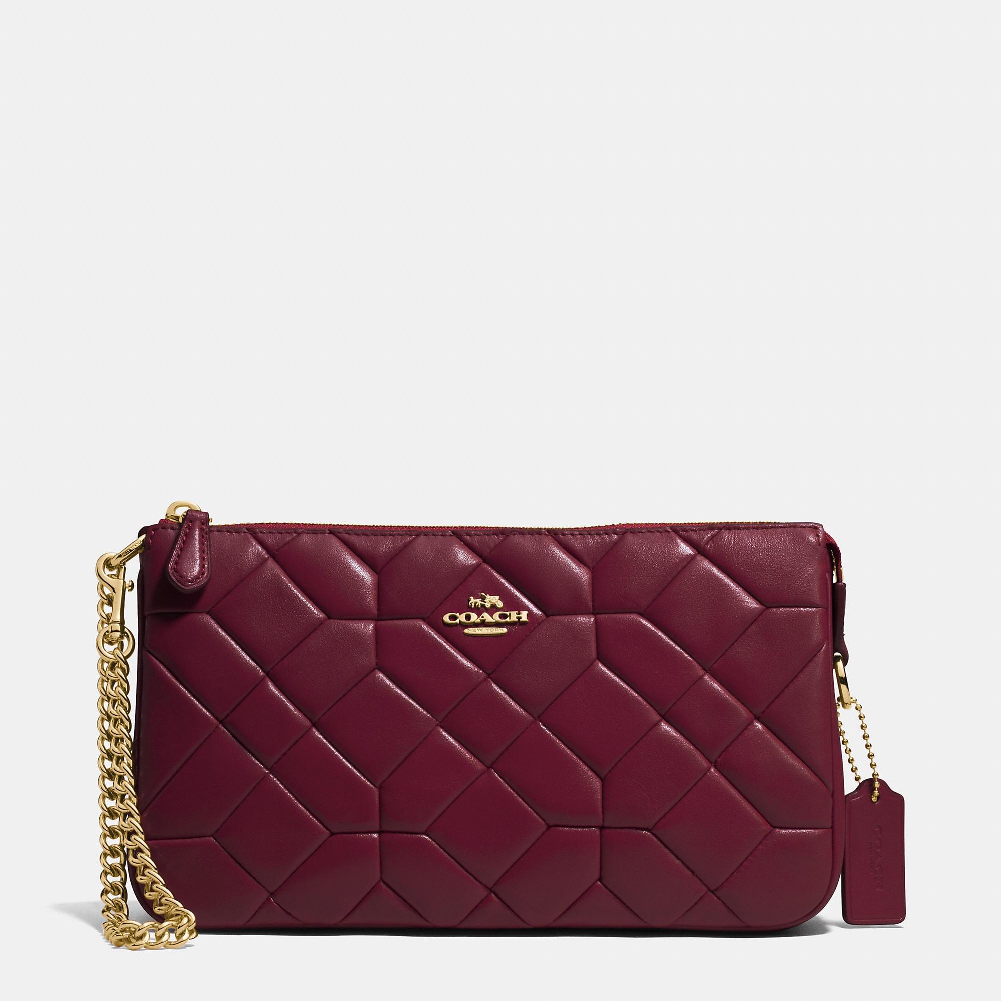 Coach Canyon Quilt Nolita Wristlet 24 In Calf Leather