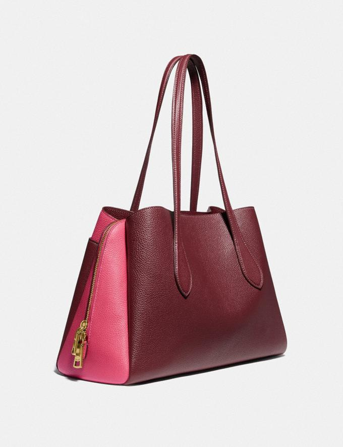 Coach Lora Carryall in Colorblock Brass/Wine Multi Women Handbags Totes & Carryalls Alternate View 1