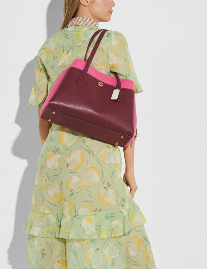 Coach Lora Carryall in Colorblock Brass/Wine Multi Women Handbags Totes & Carryalls Alternate View 4