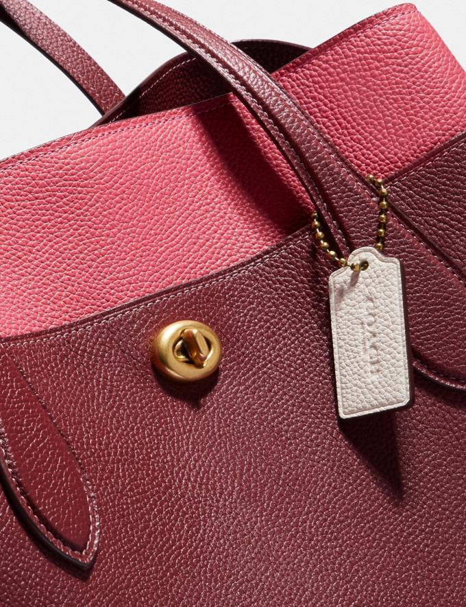 Coach Lora Carryall in Colorblock Brass/Wine Multi Women Handbags Totes & Carryalls Alternate View 5